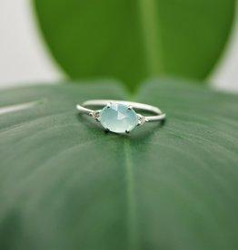 Tashi Rose Cut Aqua Chalcedony & CZ Ring