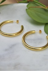 Tashi 37mm Tube Hoops  - Gold Vermeil