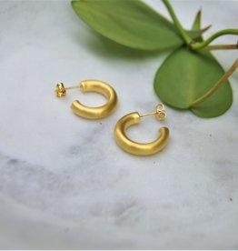 Tashi Little Tube Hoops - Brushed Gold Vermeil