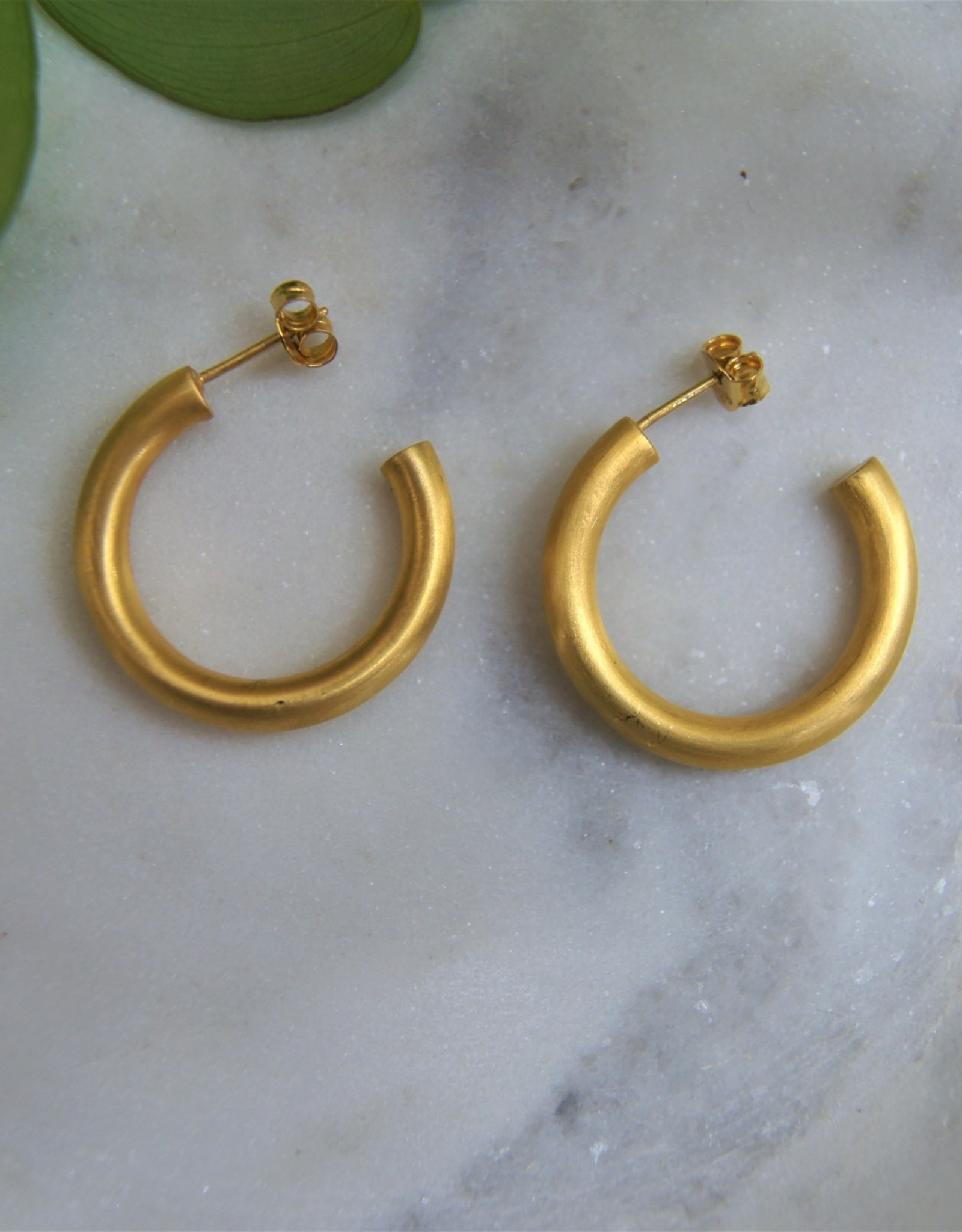 Tashi 25mm Tube Hoops  -Brushed Gold Vermeil