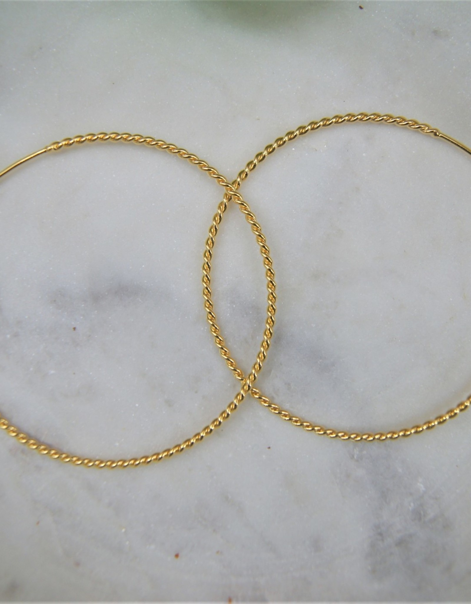 Tashi 58mm Twisted Wire Hoop Earrings - Gold Vermeil