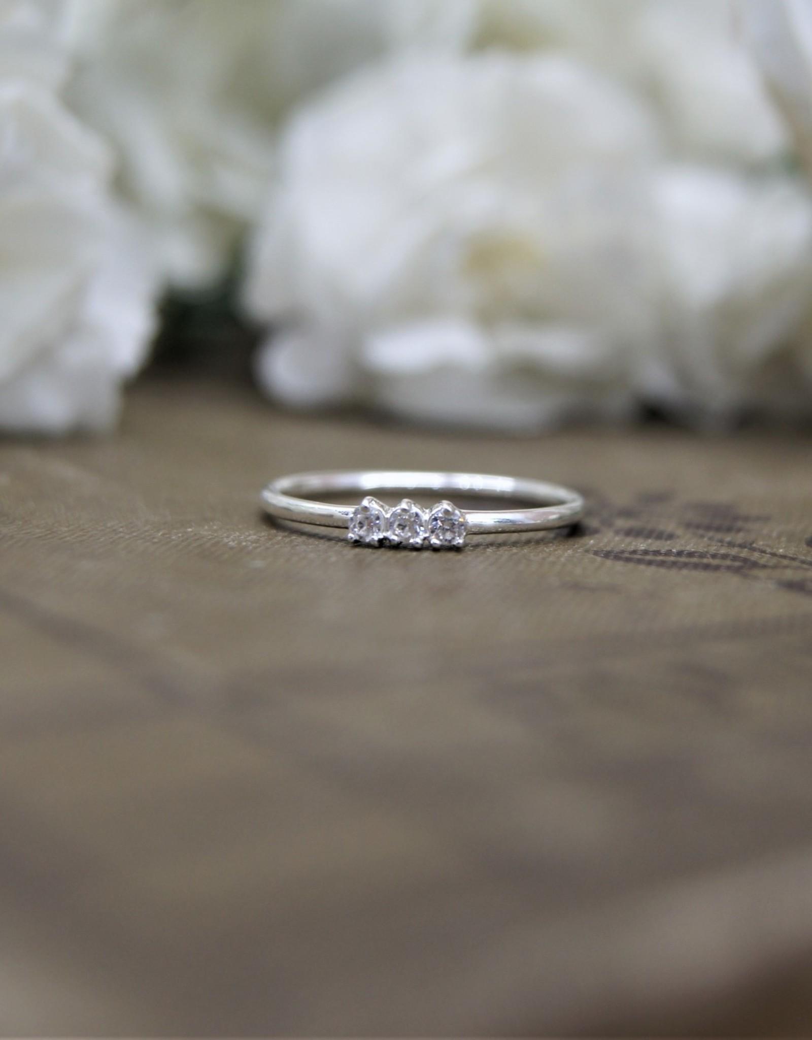 3 Tiny Cubic Zirconia Band Ring