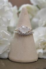 Tashi Oval Rose-cut Rainbow Moonstone & White Topaz Ring