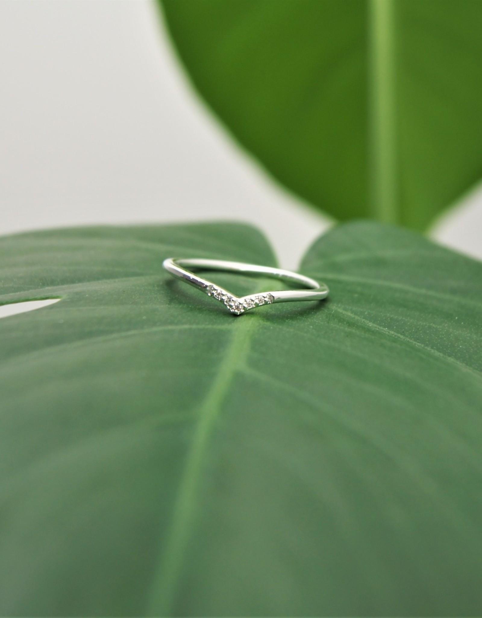 Tashi Chevron Ring With Cubic Zirconia