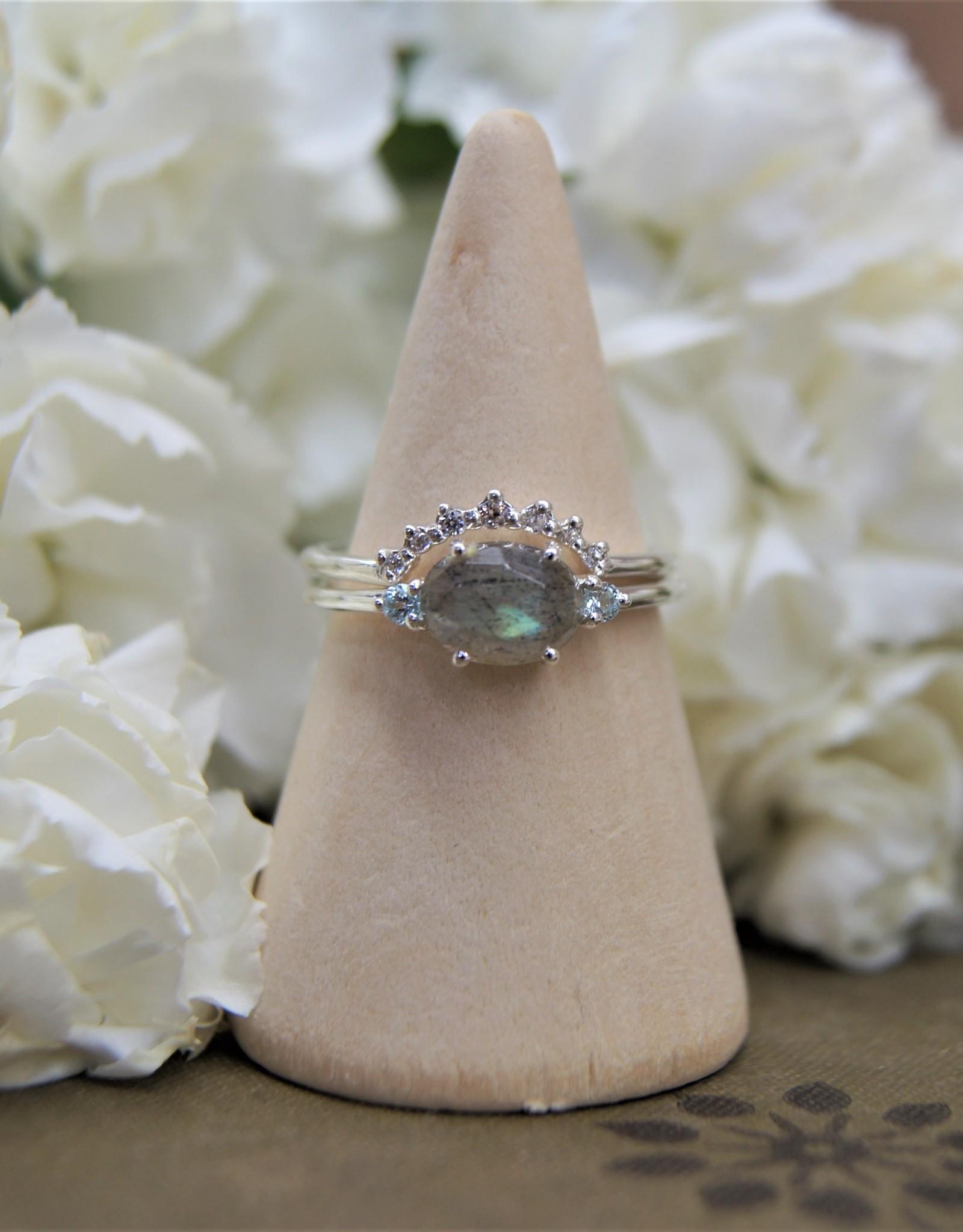 Tashi Rose-Cut Labradorite & Blue Topaz Ring