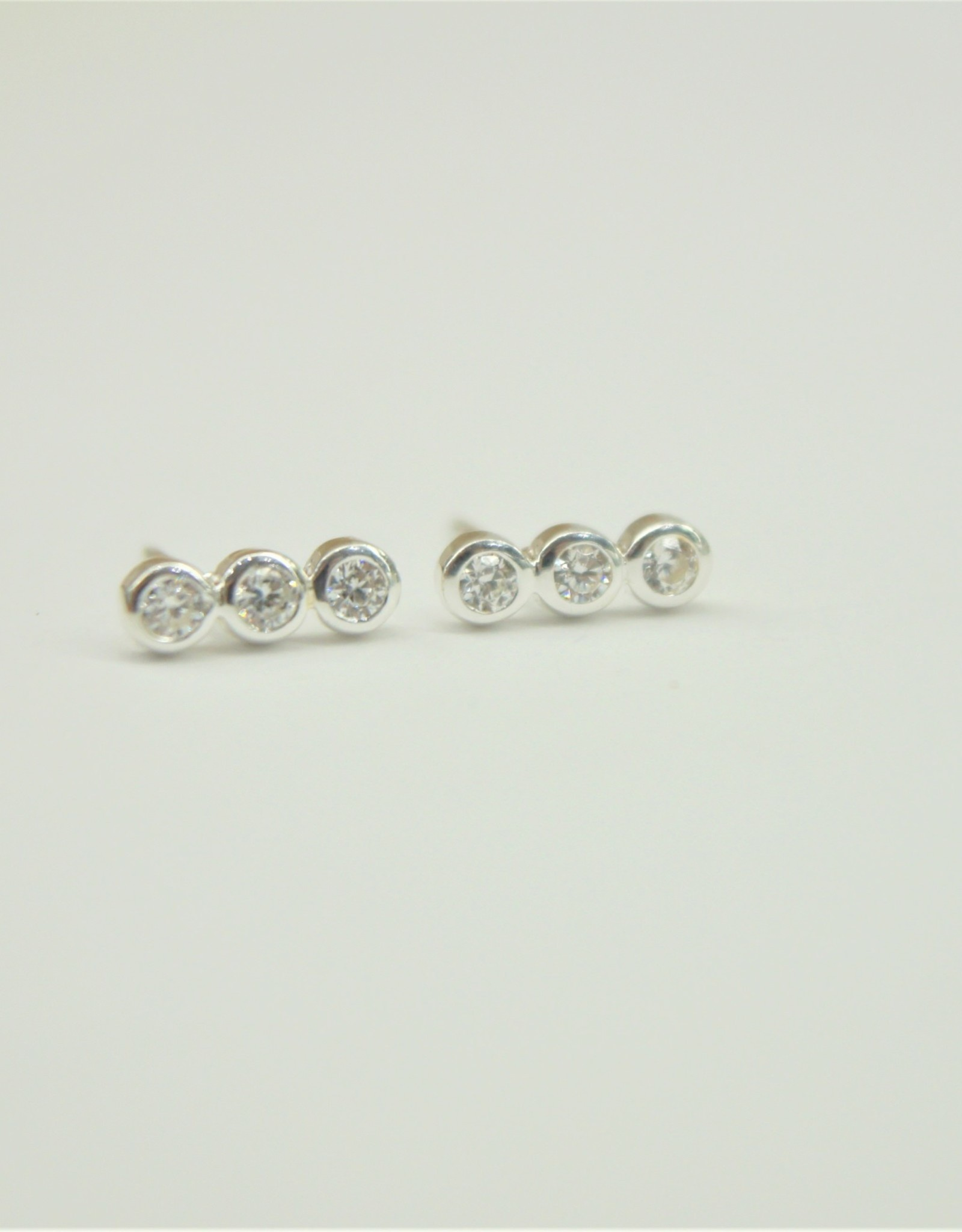 Tashi Row of Bezel Set Cubic Zirconia Earrings