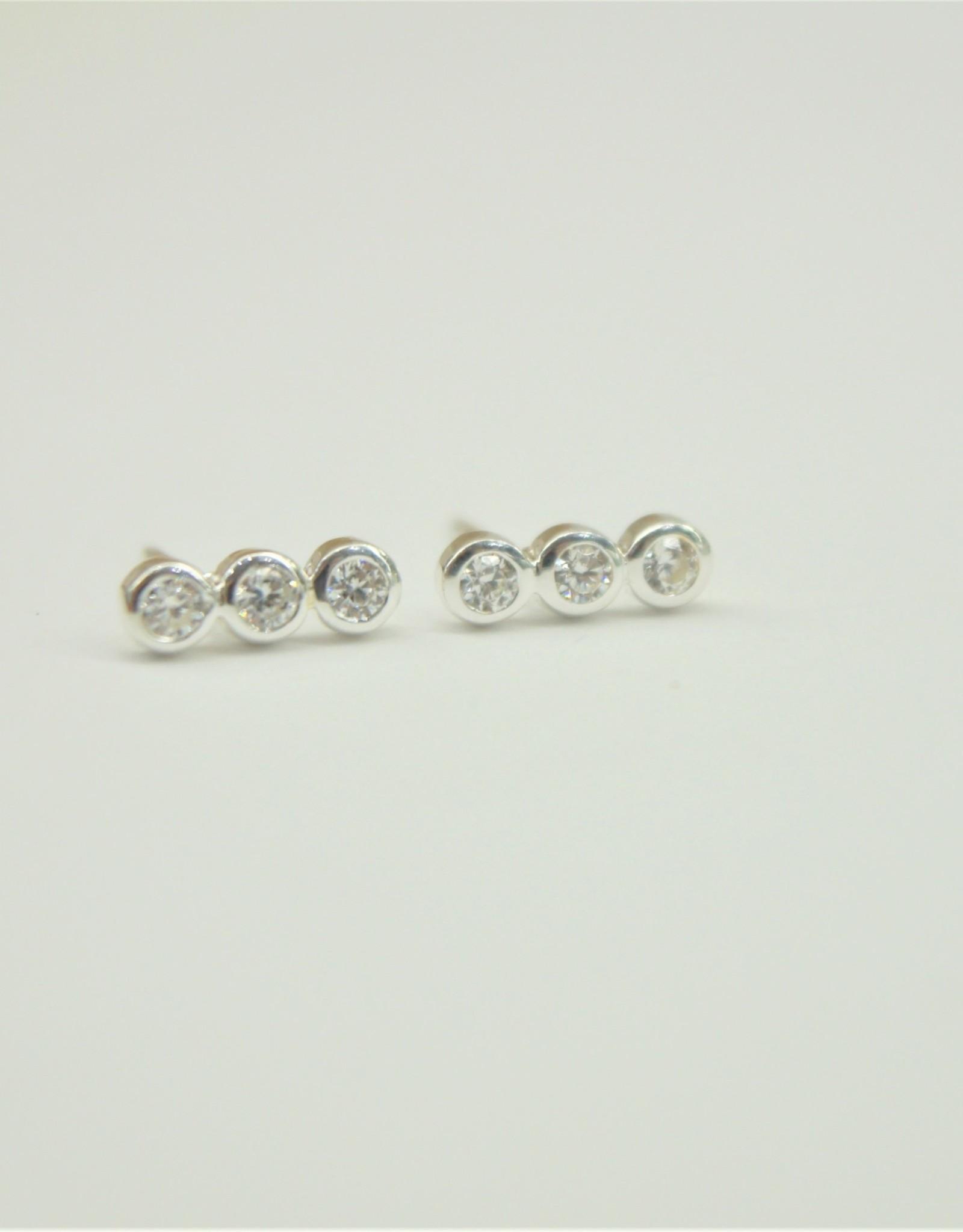 Tashi Row of Bezel Set Cubic Zirconia Earrings