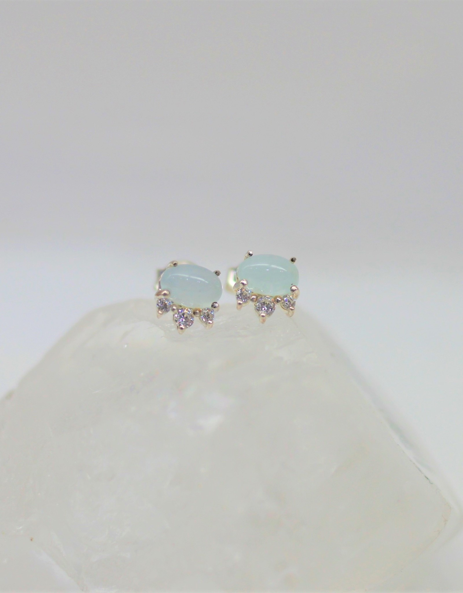 Tashi Oval Aquamarine Earrings