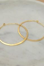 Tashi Medium Hammered Wire Hoop -Gold Vermeil