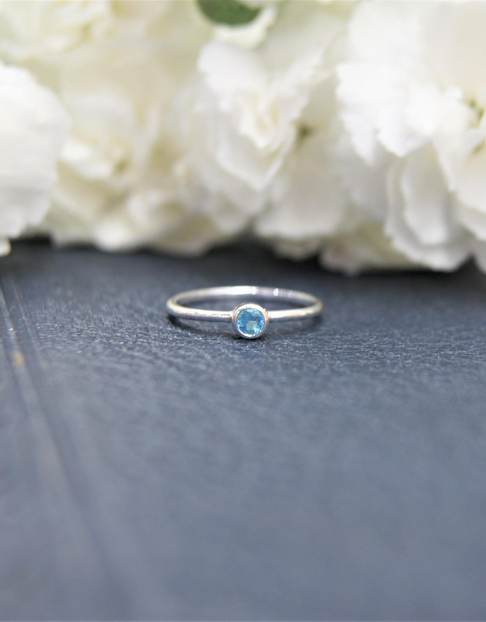 Tashi Simple Stacking Ring - Blue Topaz