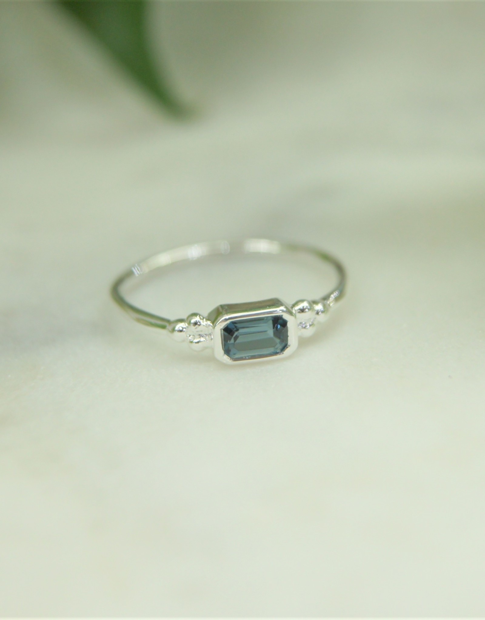 Tashi Emerald-Cut Blue Topaz Ring