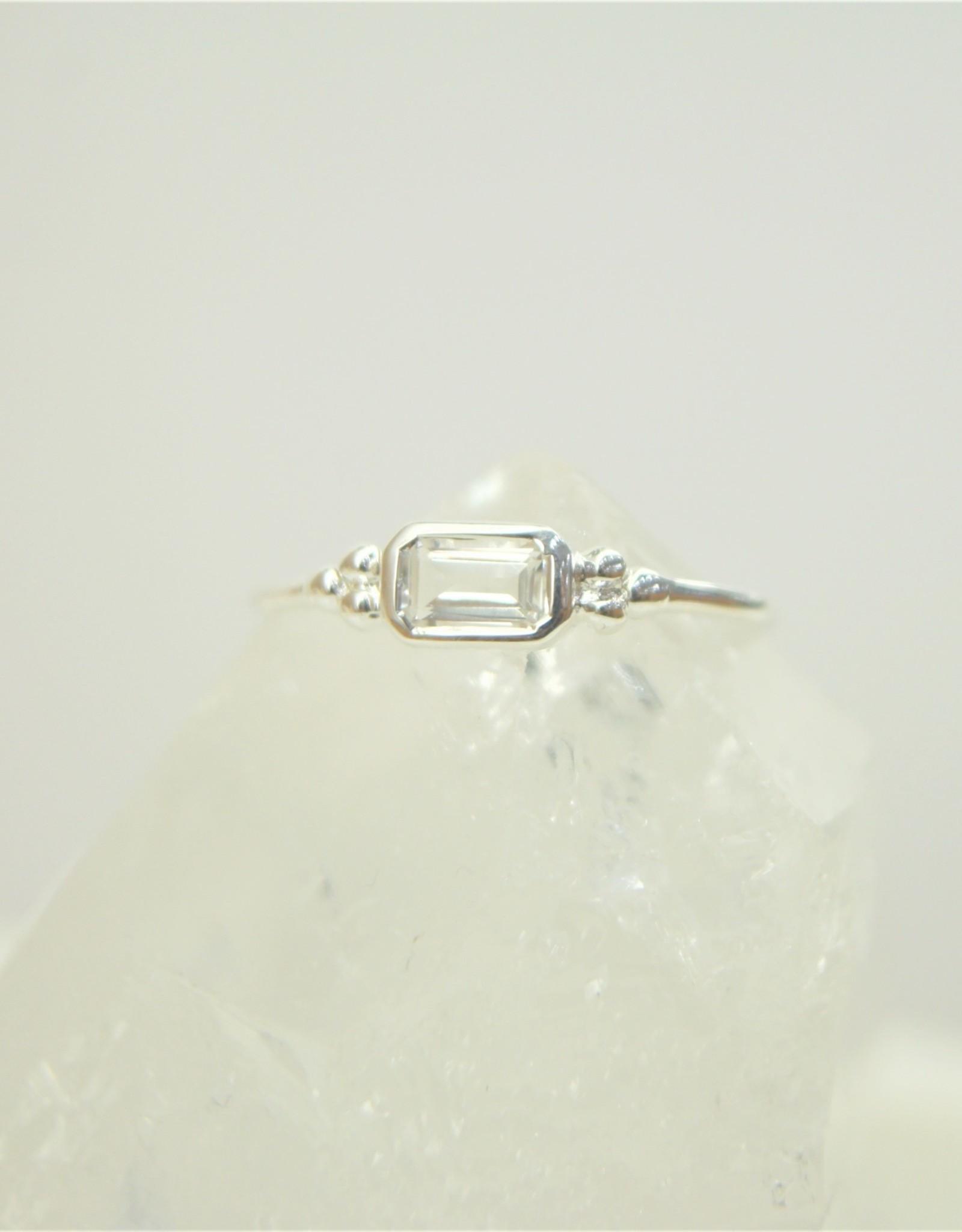 Tashi Emerald-Cut White Topaz Ring