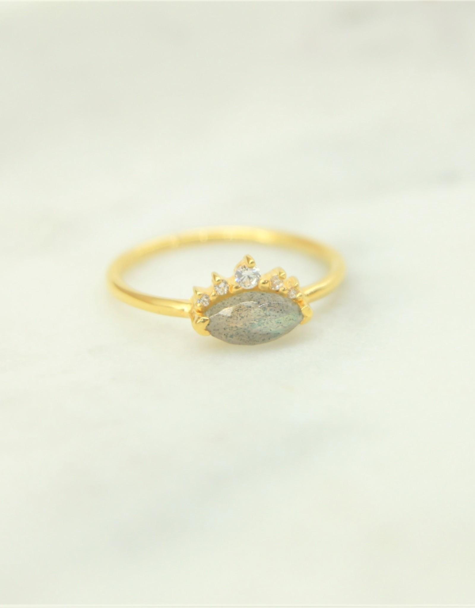 Tashi Marquis Labradorite / Cubic Zirconia Ring