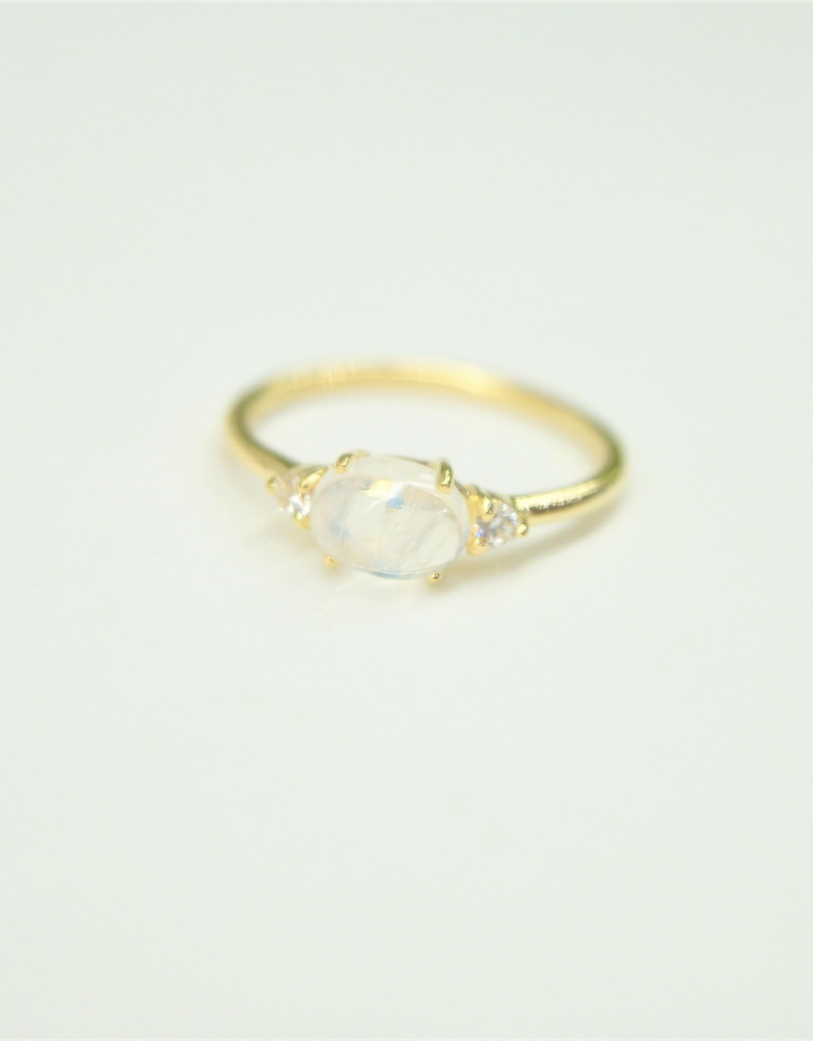Tashi Oval Rainbow Moonstone / Cubic Zirconia Ring - Gold Vermeil