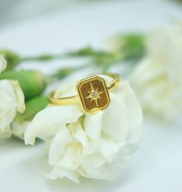 Tashi Tablet Ring with Star-Set White Sapphire Ring