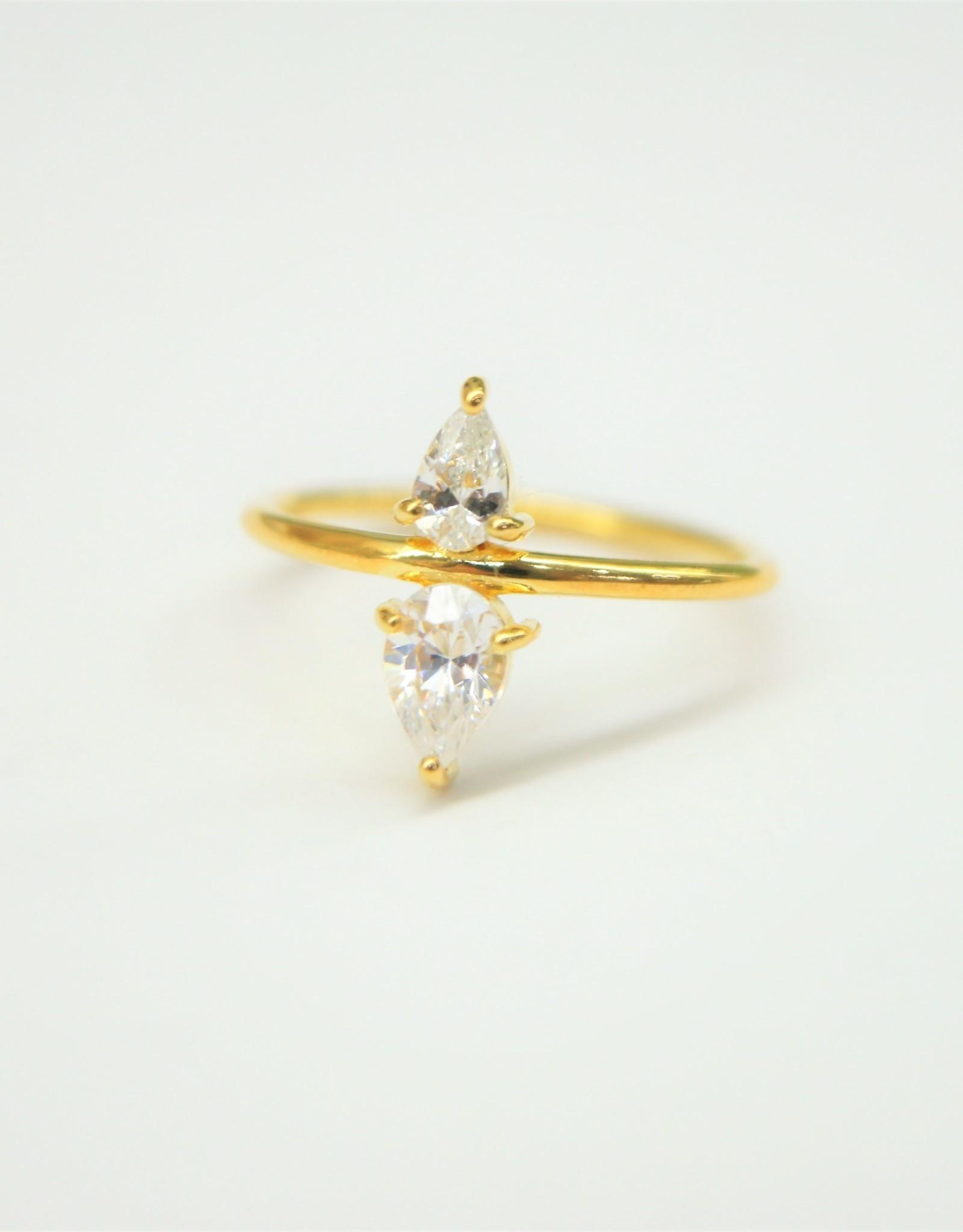 Tashi 2 Cubic Zirconia Pears Ring