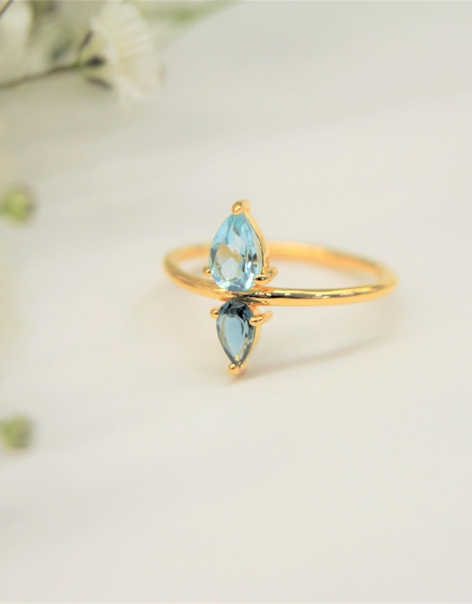 Tashi London Blue/ Blue Topaz Pear Ring