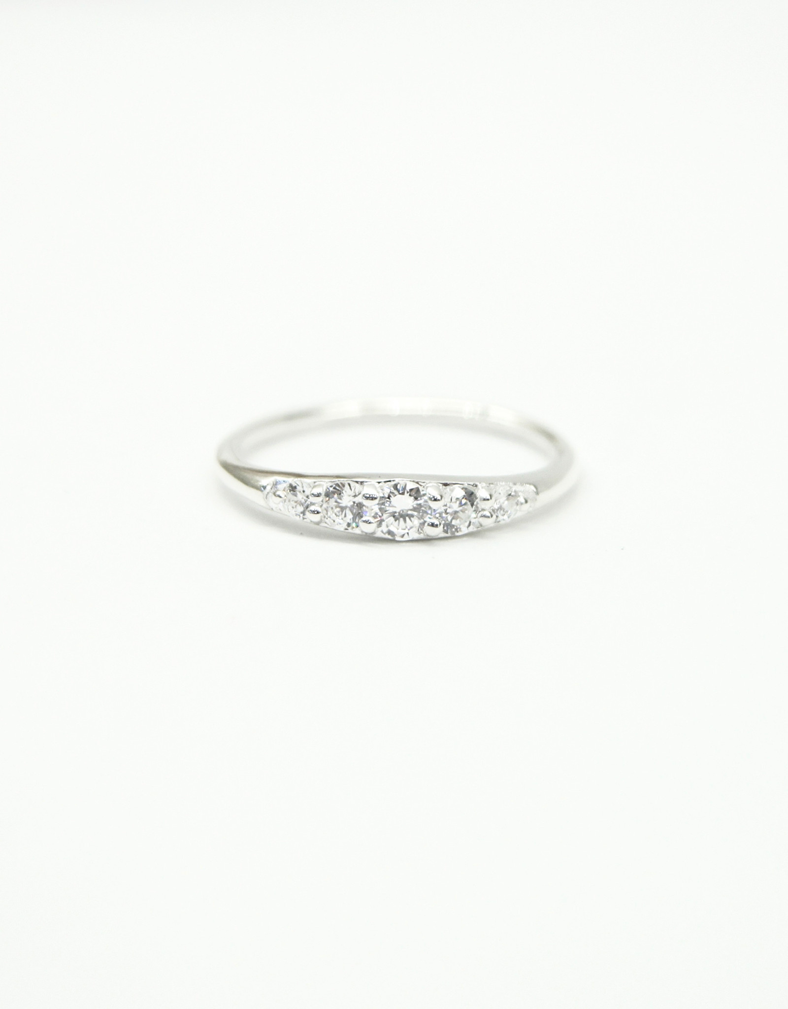 Tashi Tapered Band with Cubic Zirconia Ring