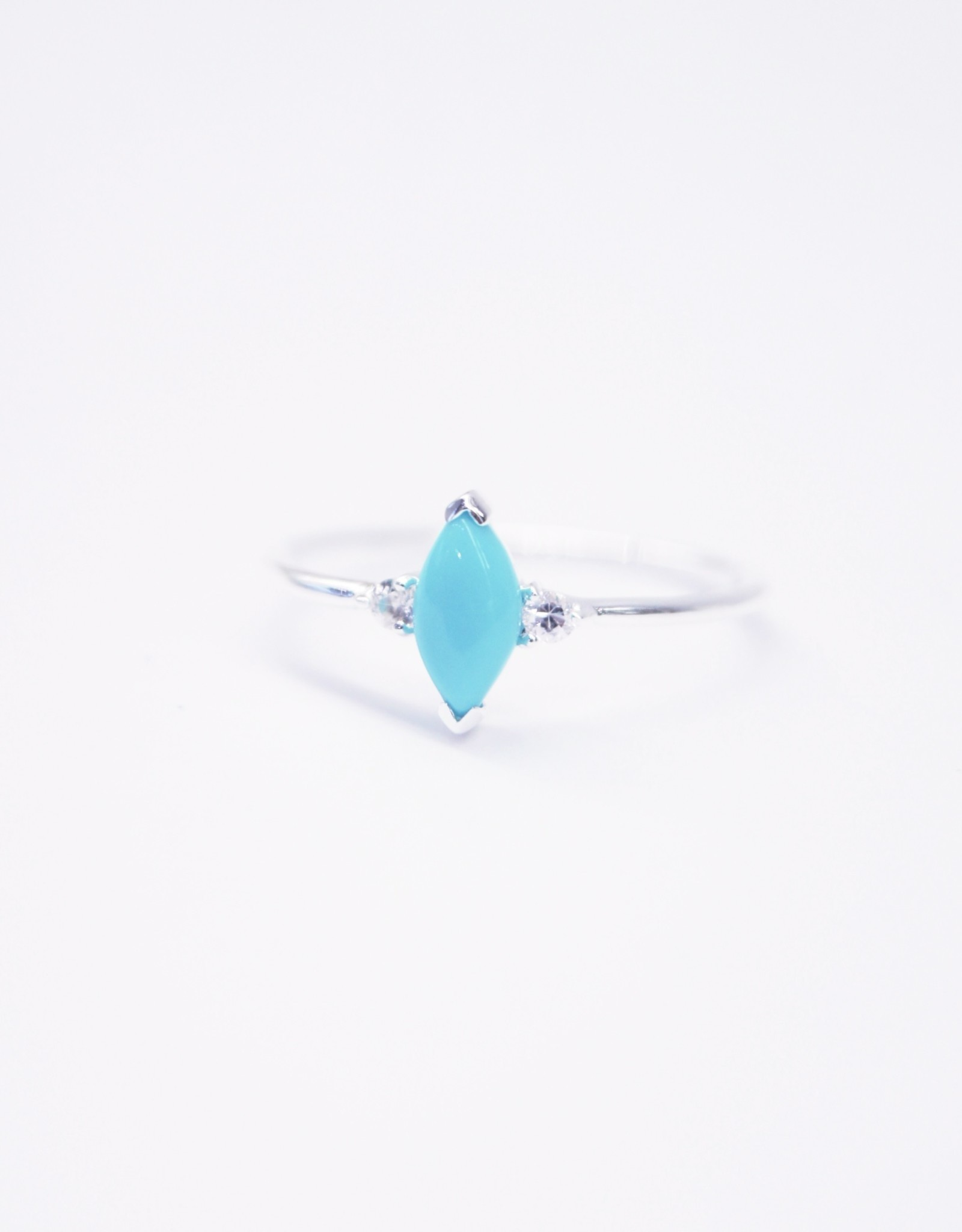 Tashi Turquoise Marquis with White Sapphire Ring