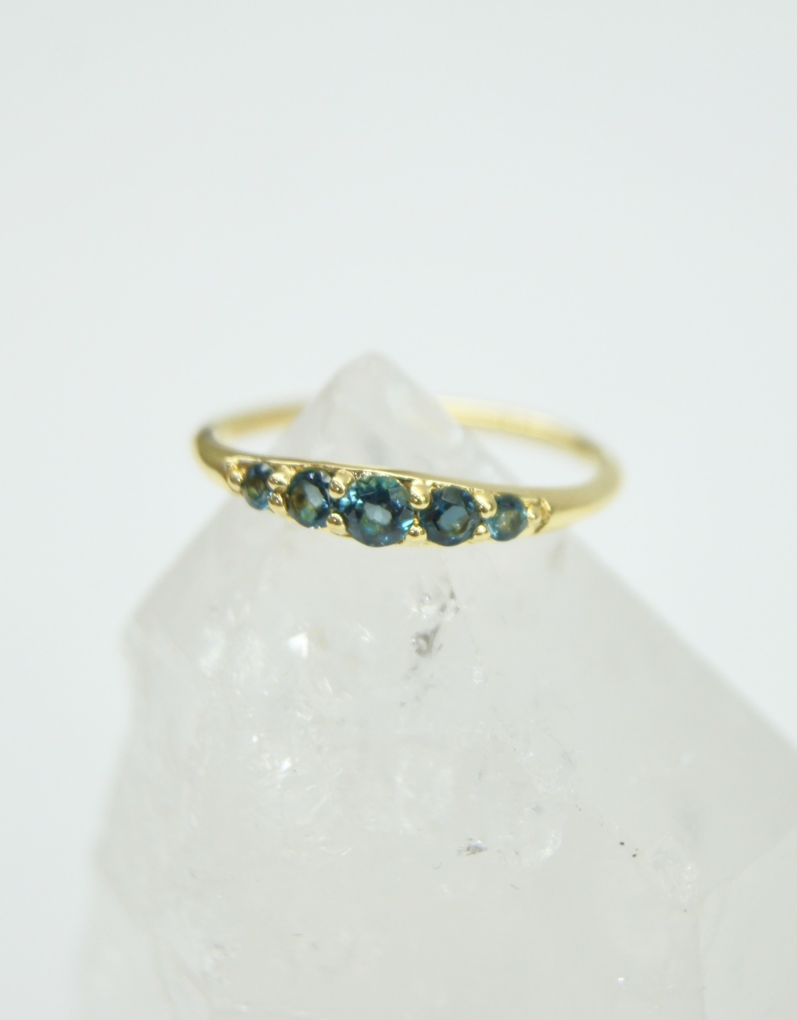 Tashi Tapered Band with London Blue Topaz Ring - Gold Vermeil