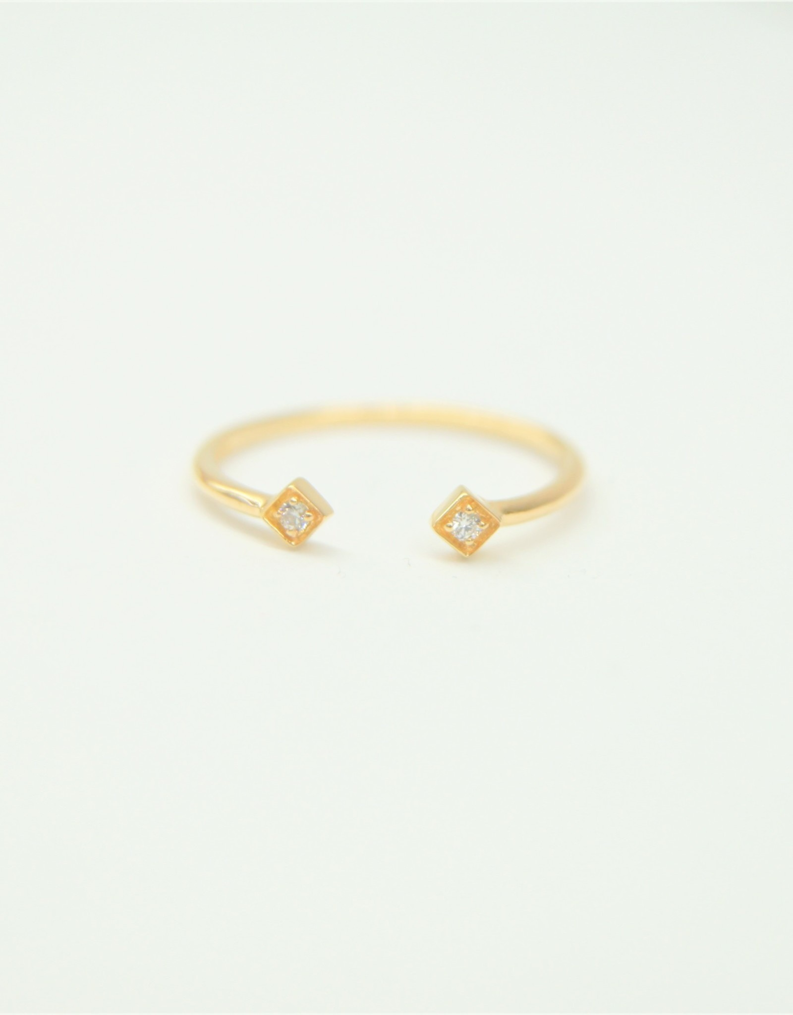 Tashi Double Prong with Cubic Zirconia Ring