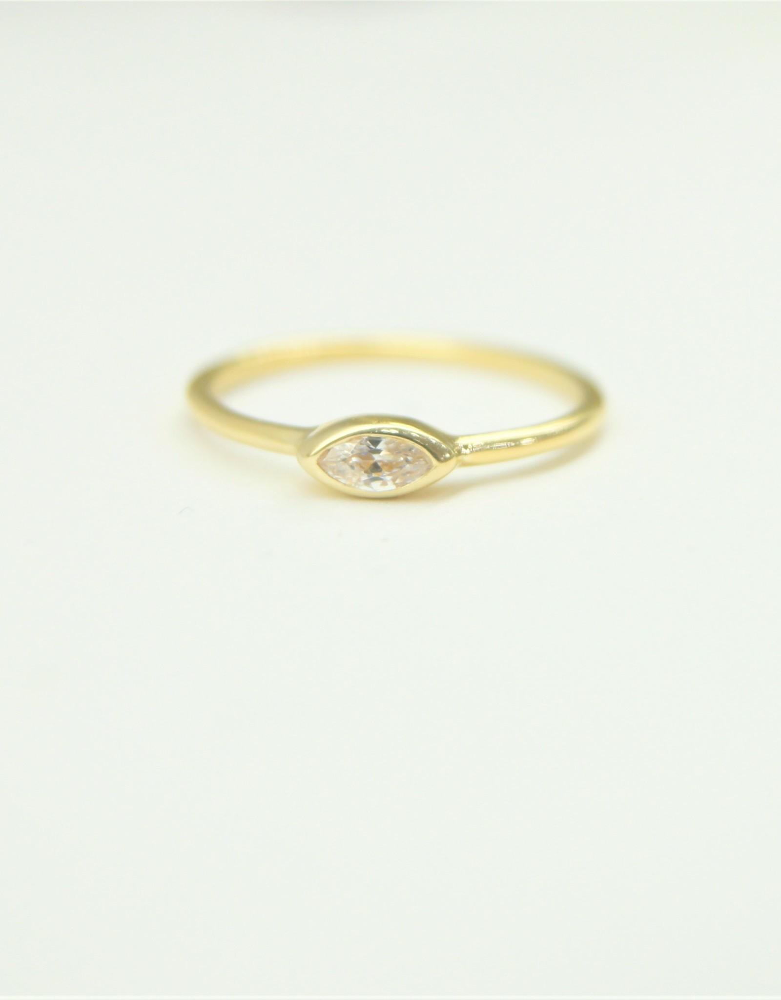 Tashi Bezel-Set Marquis with Cubic Zirconia Stacking Ring