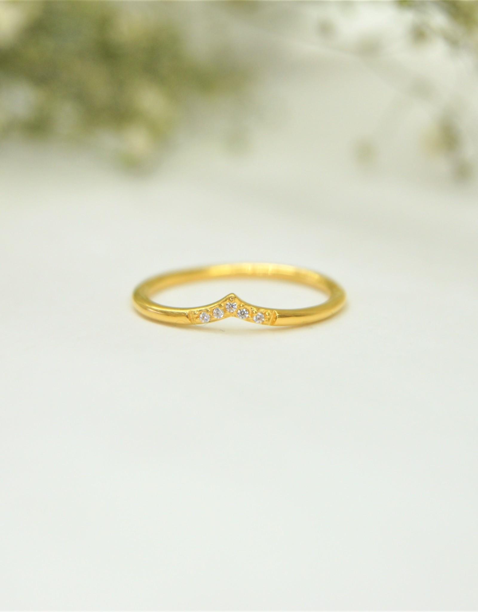 Tashi Chevron Ring With Cubic Zirconia - Gold Vermeil