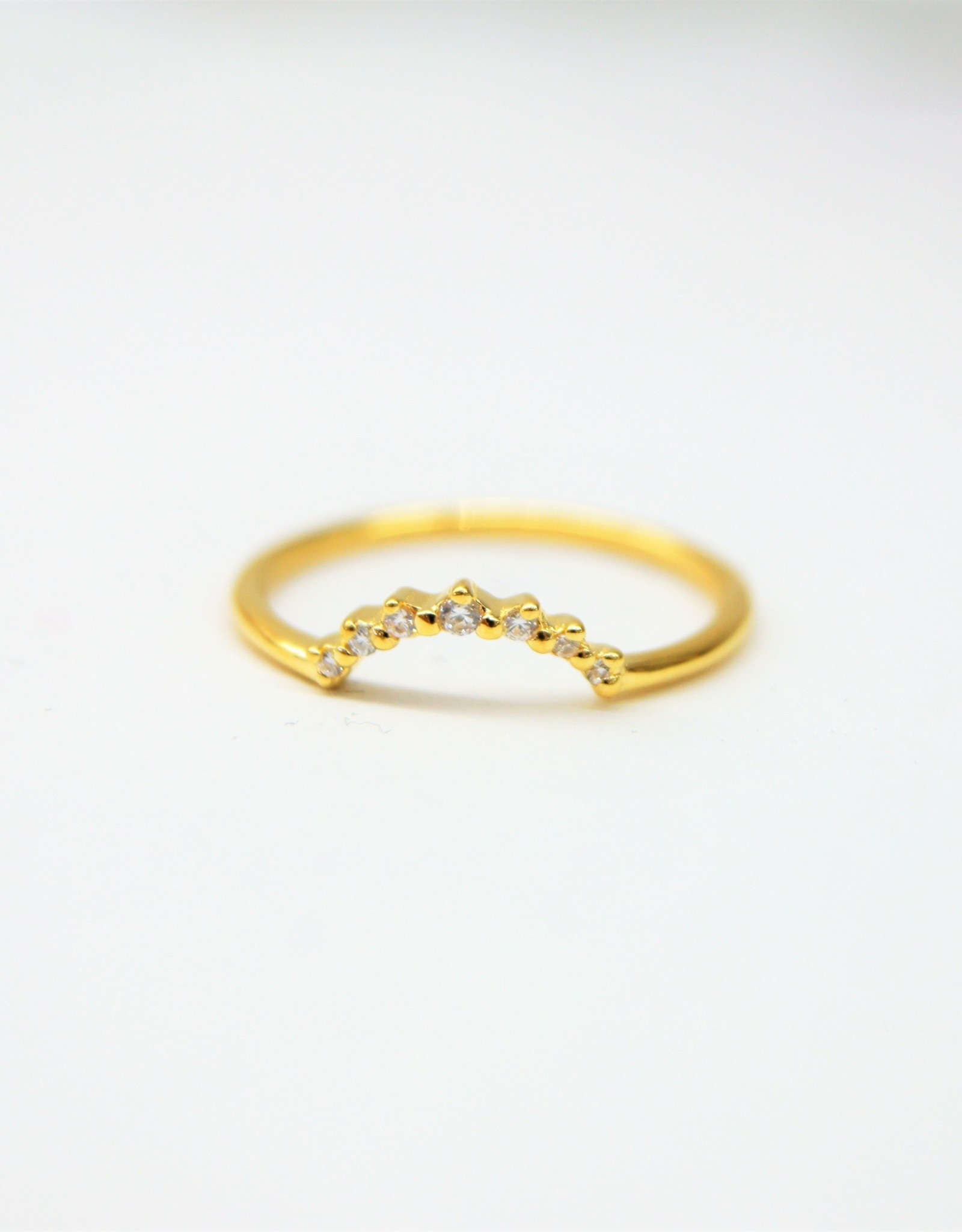 Tashi Little Arc Stacking Ring with Cubic Zirconia - Gold