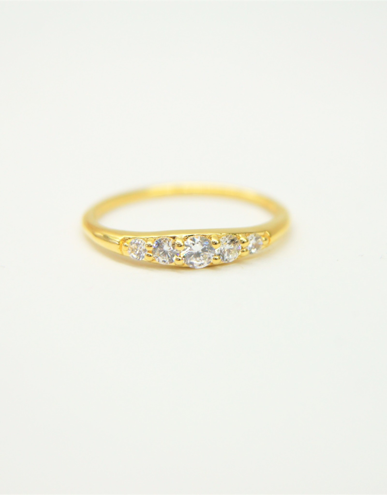 Tashi Tapered Band with Cubic Zirconia Ring - Gold Vermeil