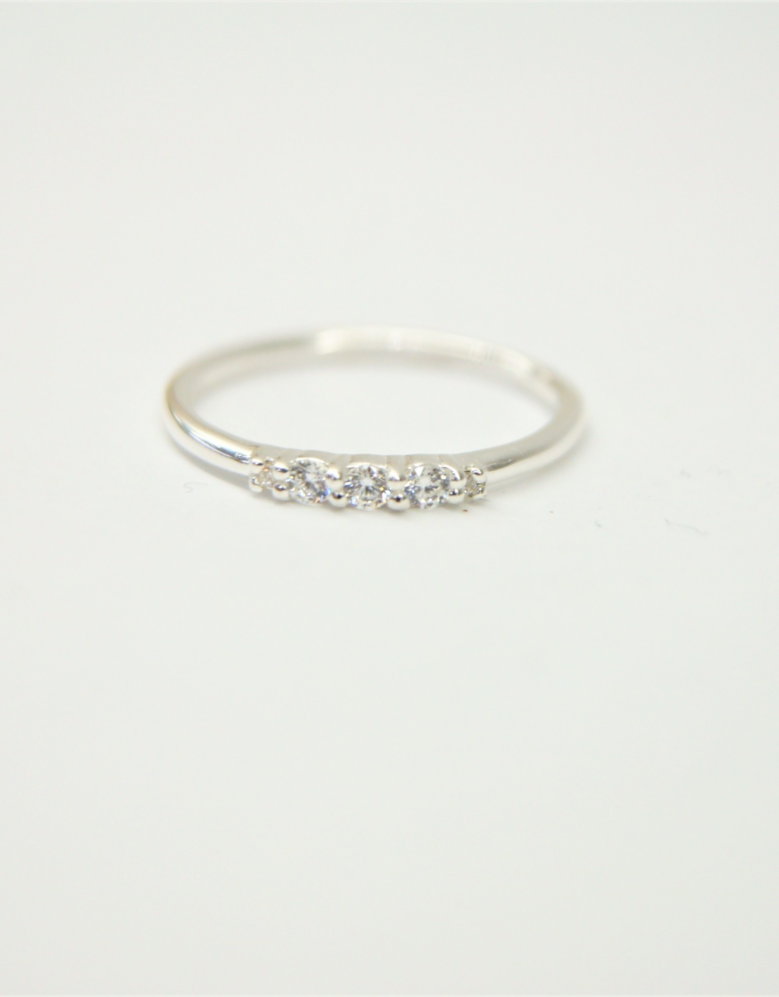 Tashi Tapered Band with 5 Cubic Zirconia Ring