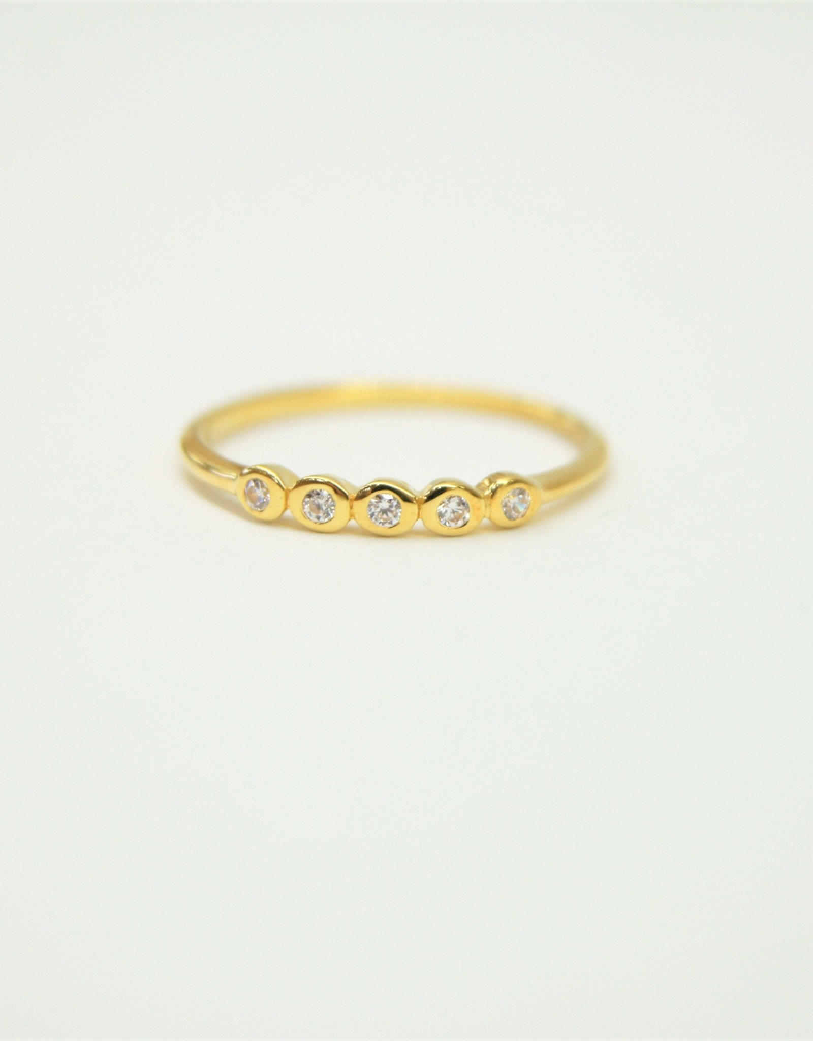 Tashi 5 Stone Bezel-set Stacker Ring with Cubic Zirconia - Gold Vermeil