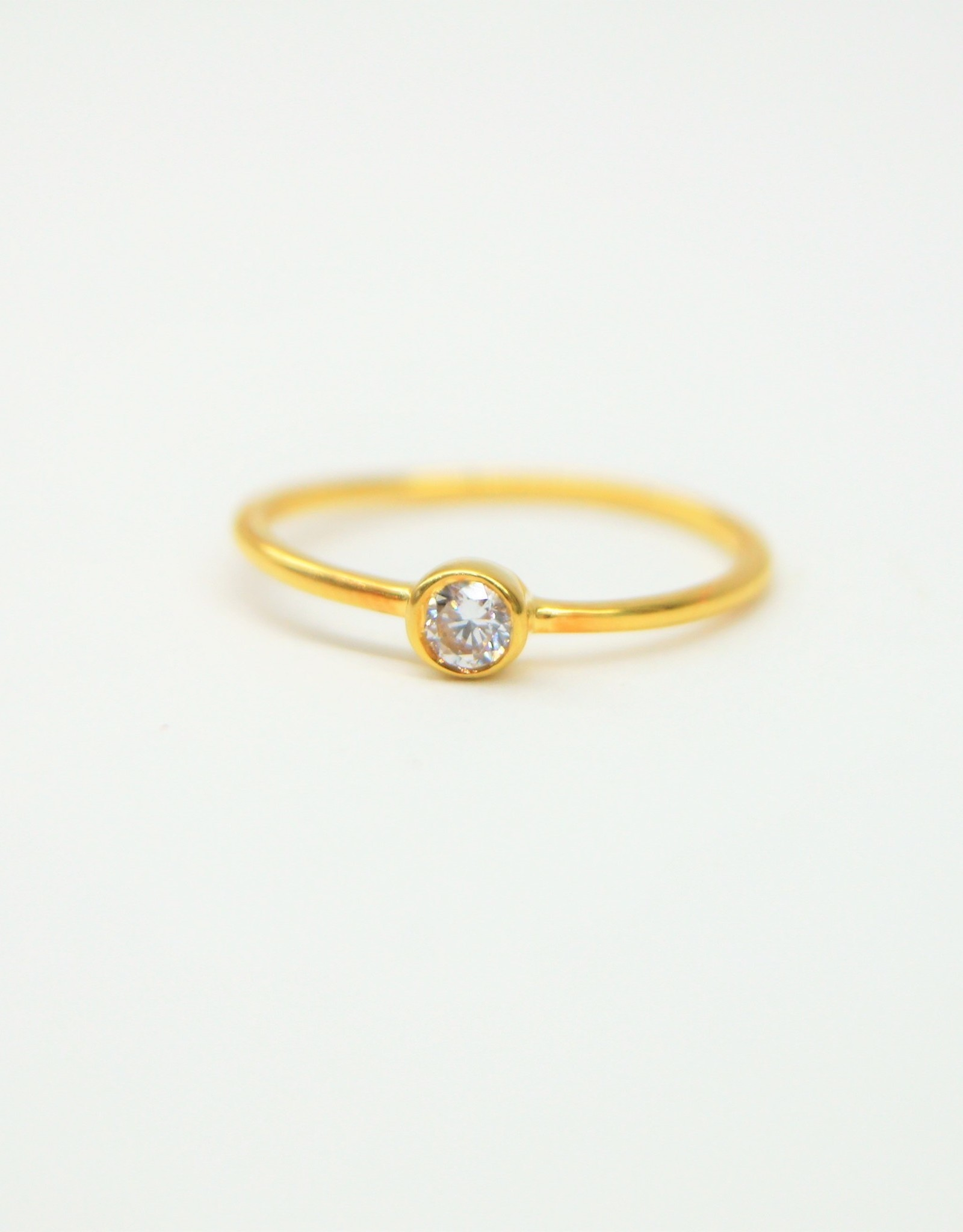 Tashi 3MM Gold Vermeil with Cubic Zirconia Ring