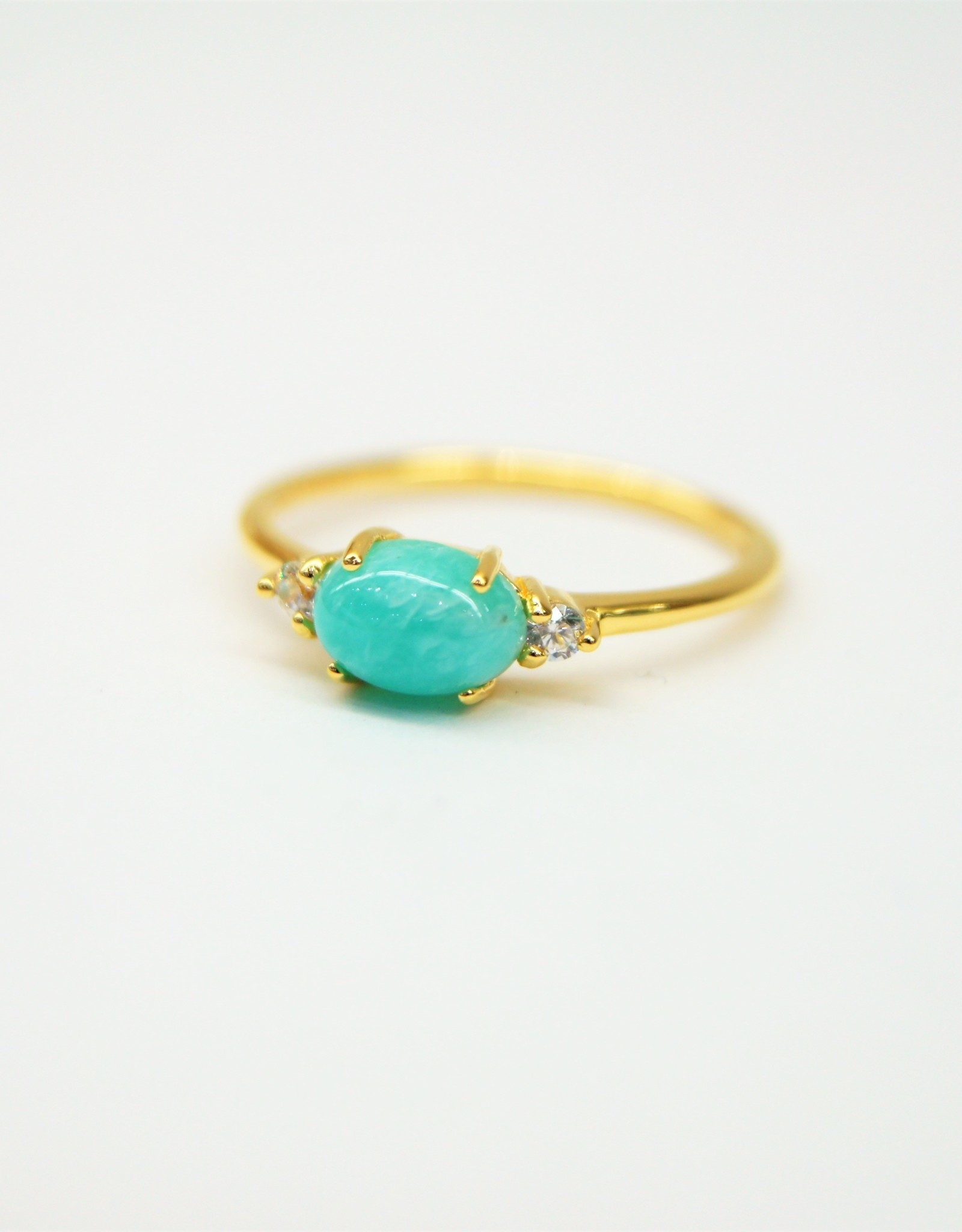 Tashi Oval Amazonite with Cubic Zirconia Ring - Gold Vermeil