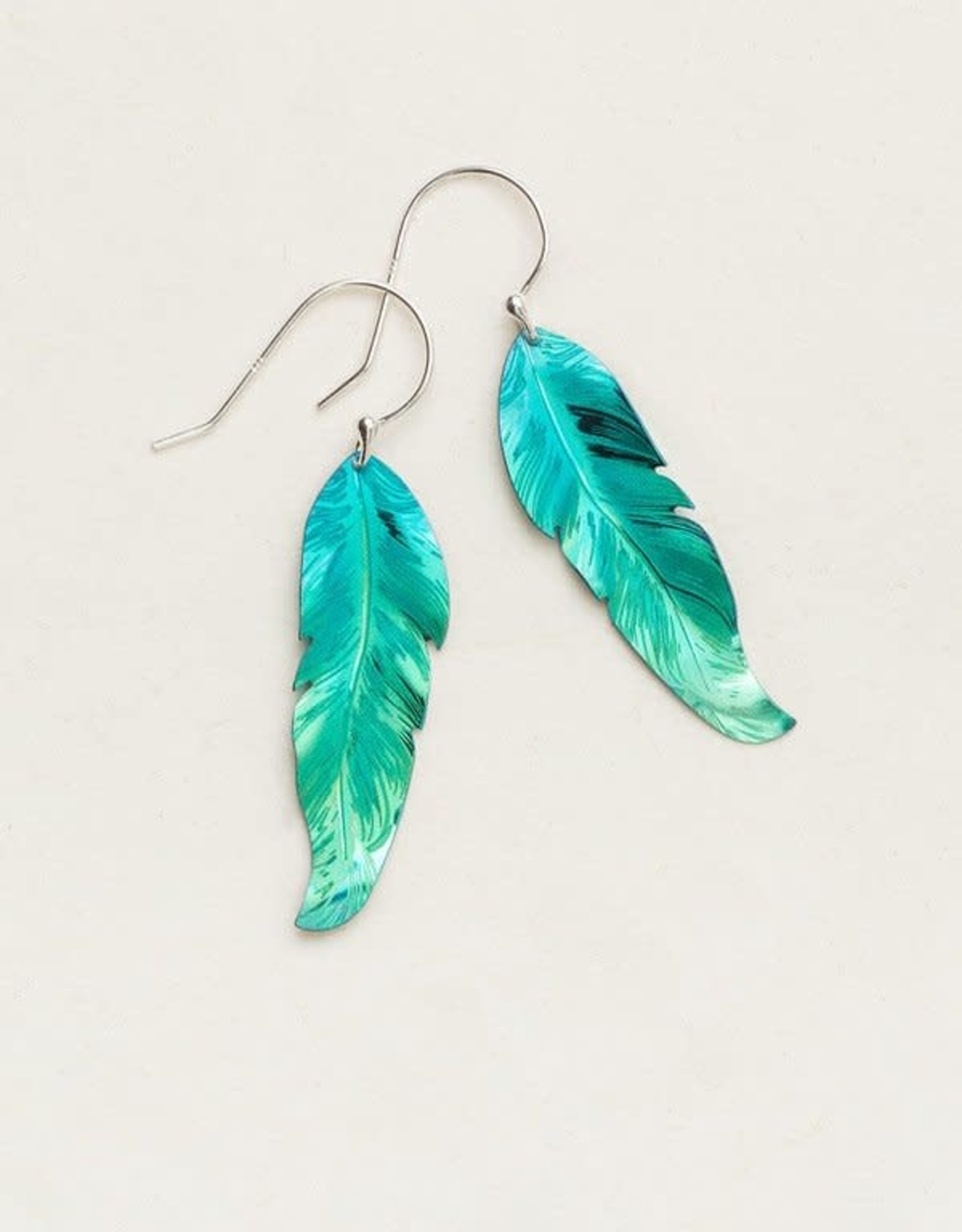 Holly Yashi Petite Turquoise/ Green Free Spirit Feather Earrings