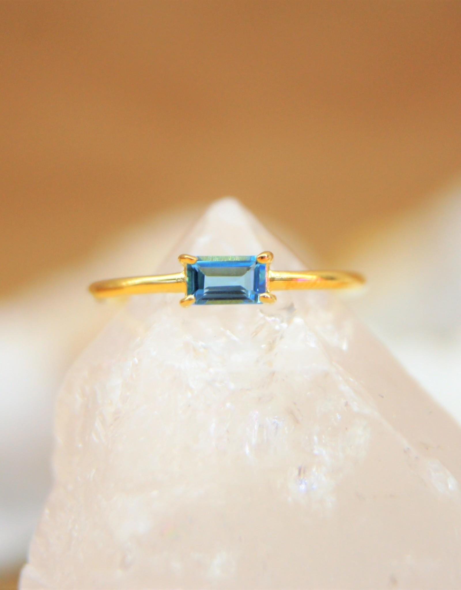 Tashi Baguette Blue Topaz Ring - Gold Vermeil
