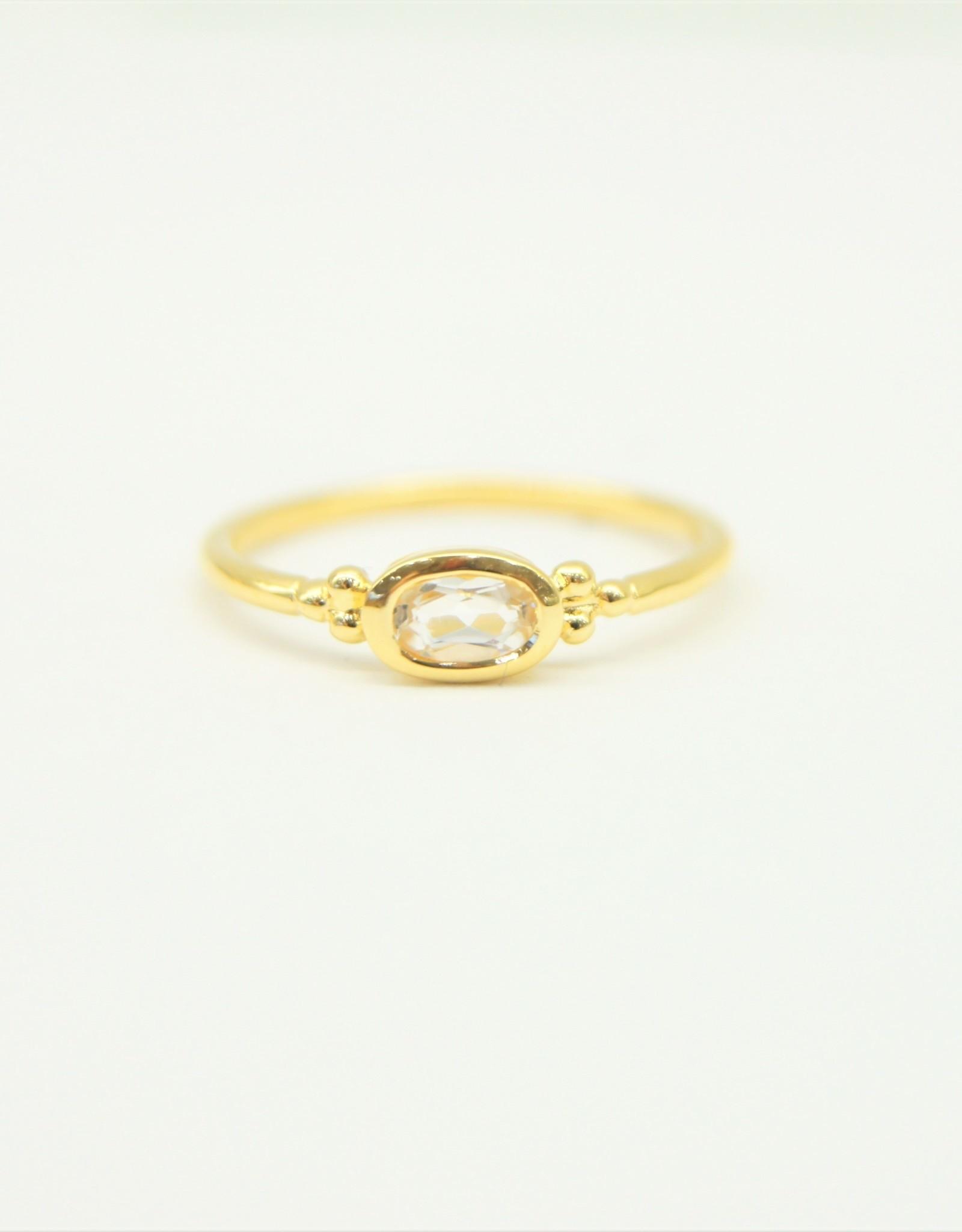 Tashi Bezel-Set Oval White Topaz Ring