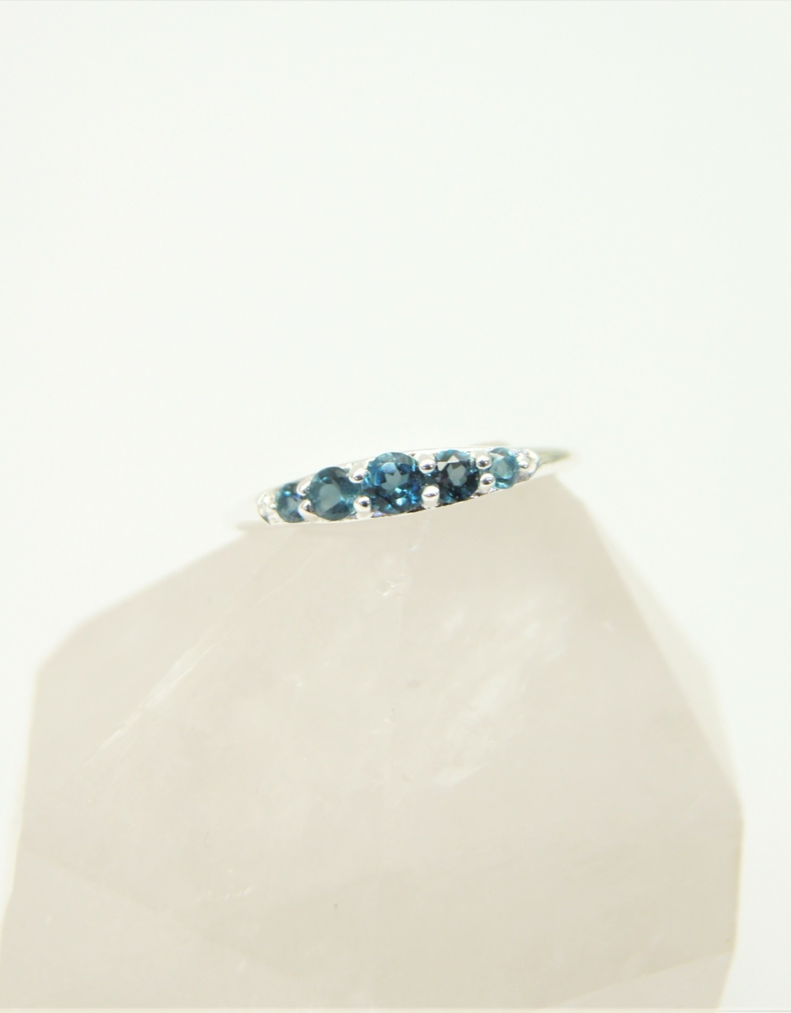 Tashi Tapered Band with London Blue Topaz Ring