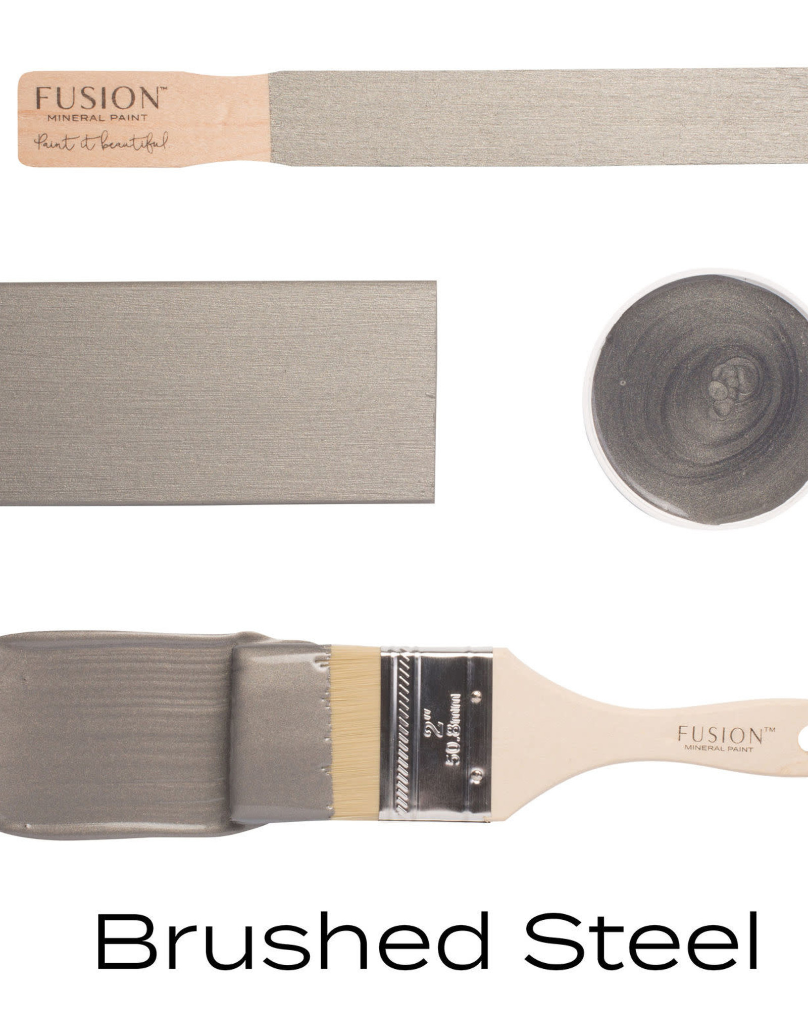 Fusion Mineral Paint Metallic 250ml Brushed Steel