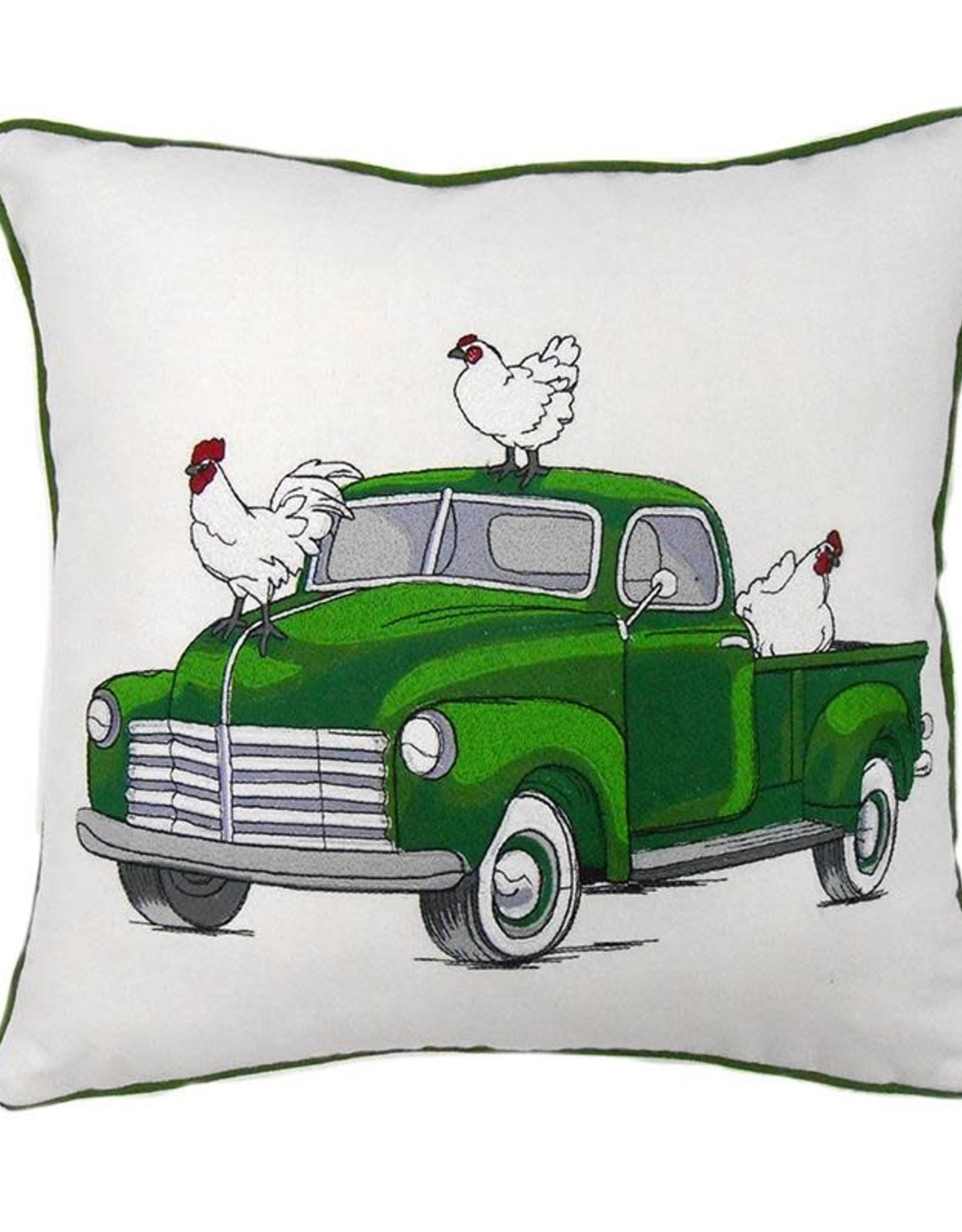 Farm Truck Embroidered Pillow