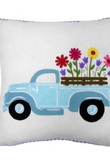 Embroidered Flower Truck Pillow