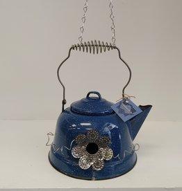 Blue Enamel Teapot Birdhouse
