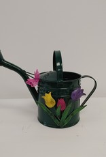 Small Green Watering Can w/flowers