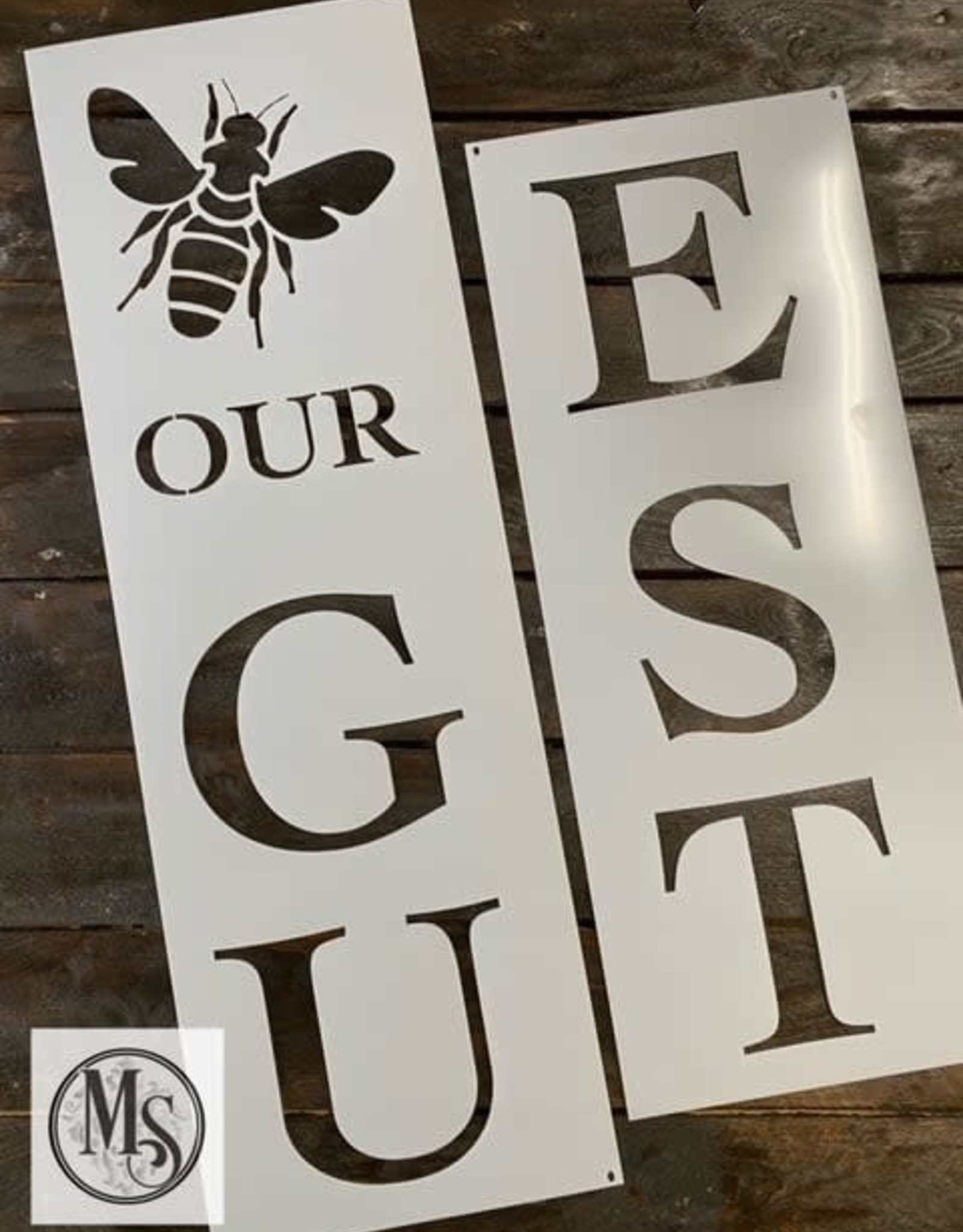 """Bee Our Guest Vertical Sign Stencil - 48"""""""