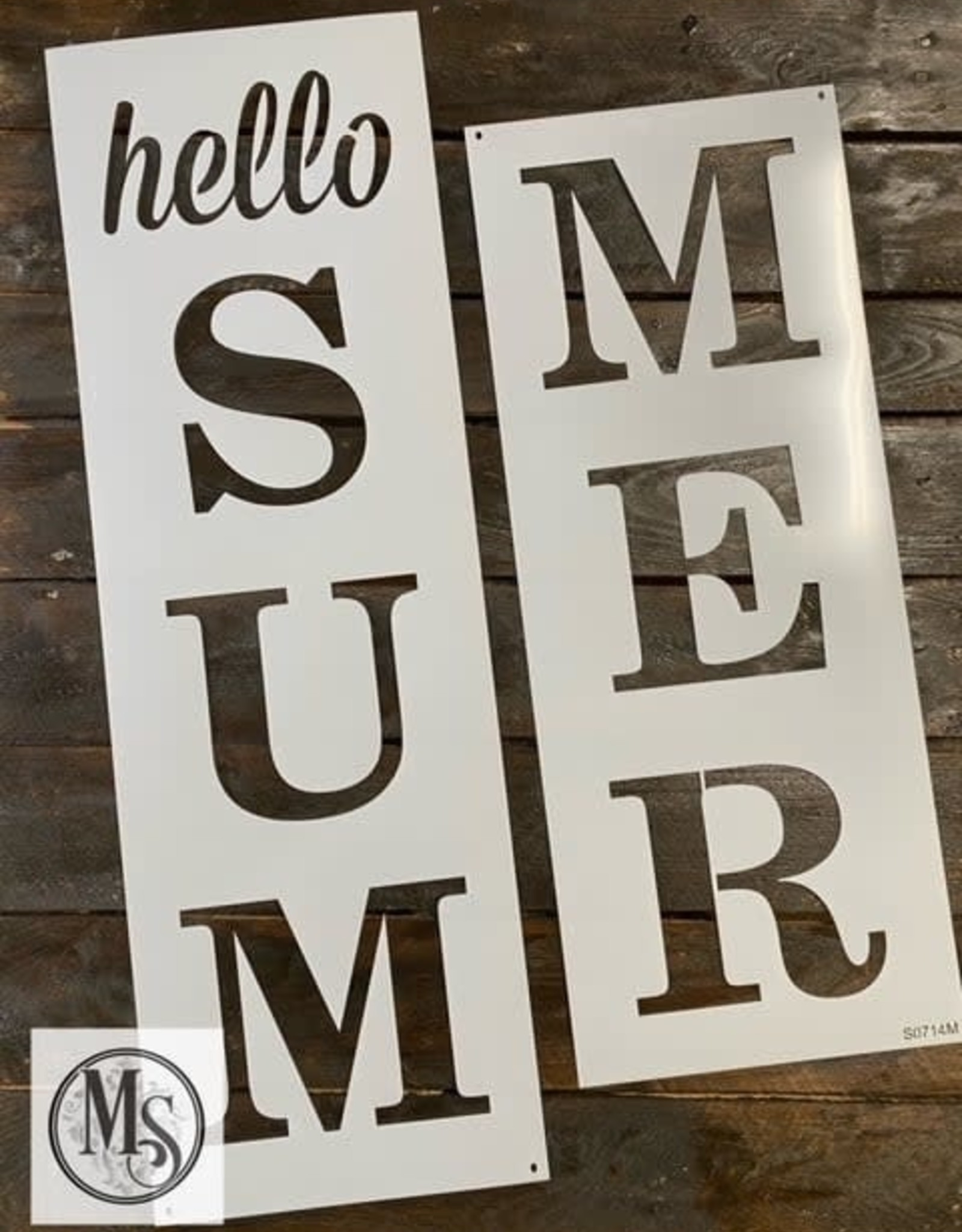 """Hello Summer Vertical Sign Stencil - 48"""""""