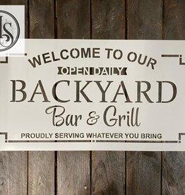 Backyard Bar & Grill Stencil