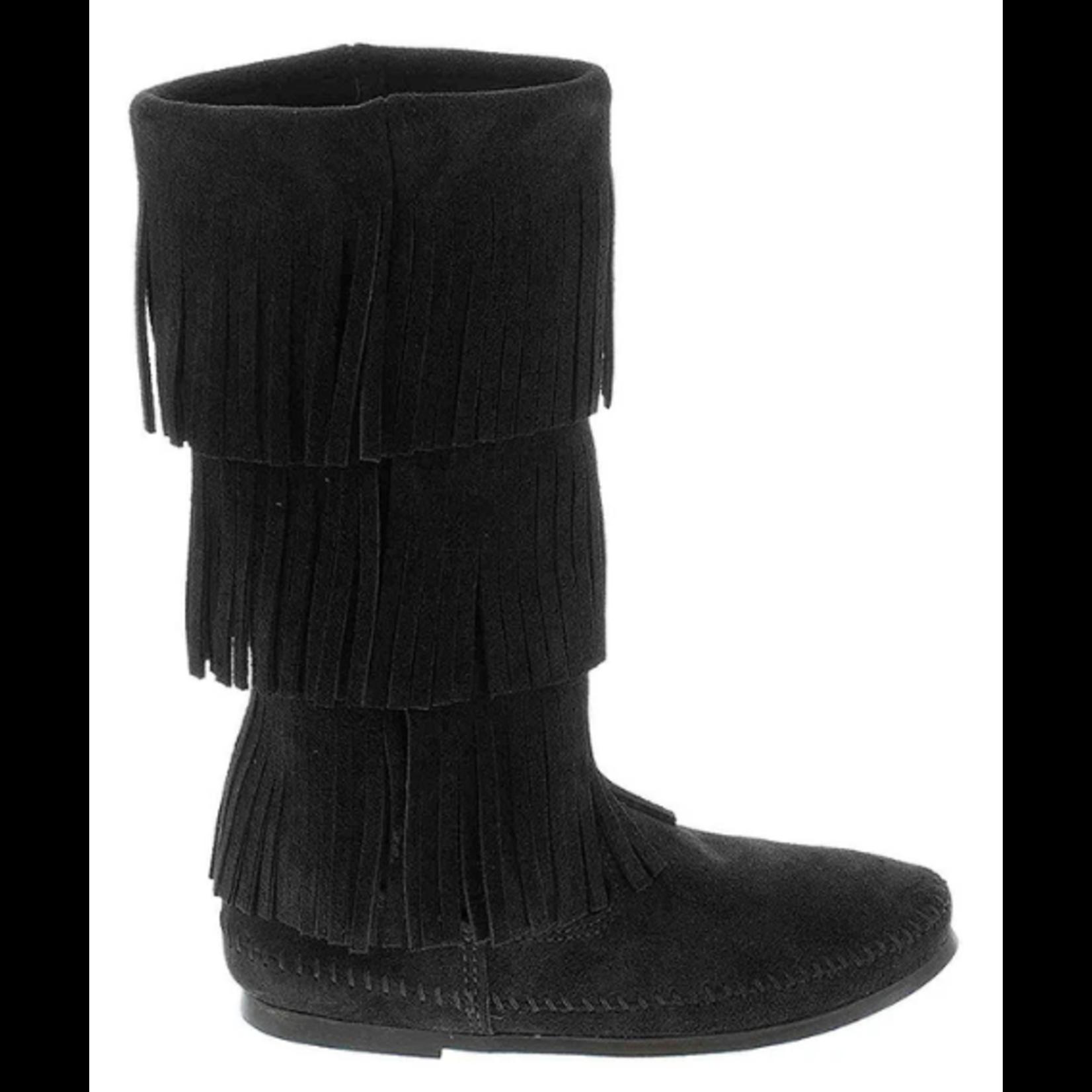 Minnetonka Women's Minnetonka 3 Layer Fringe Boot Black 1639