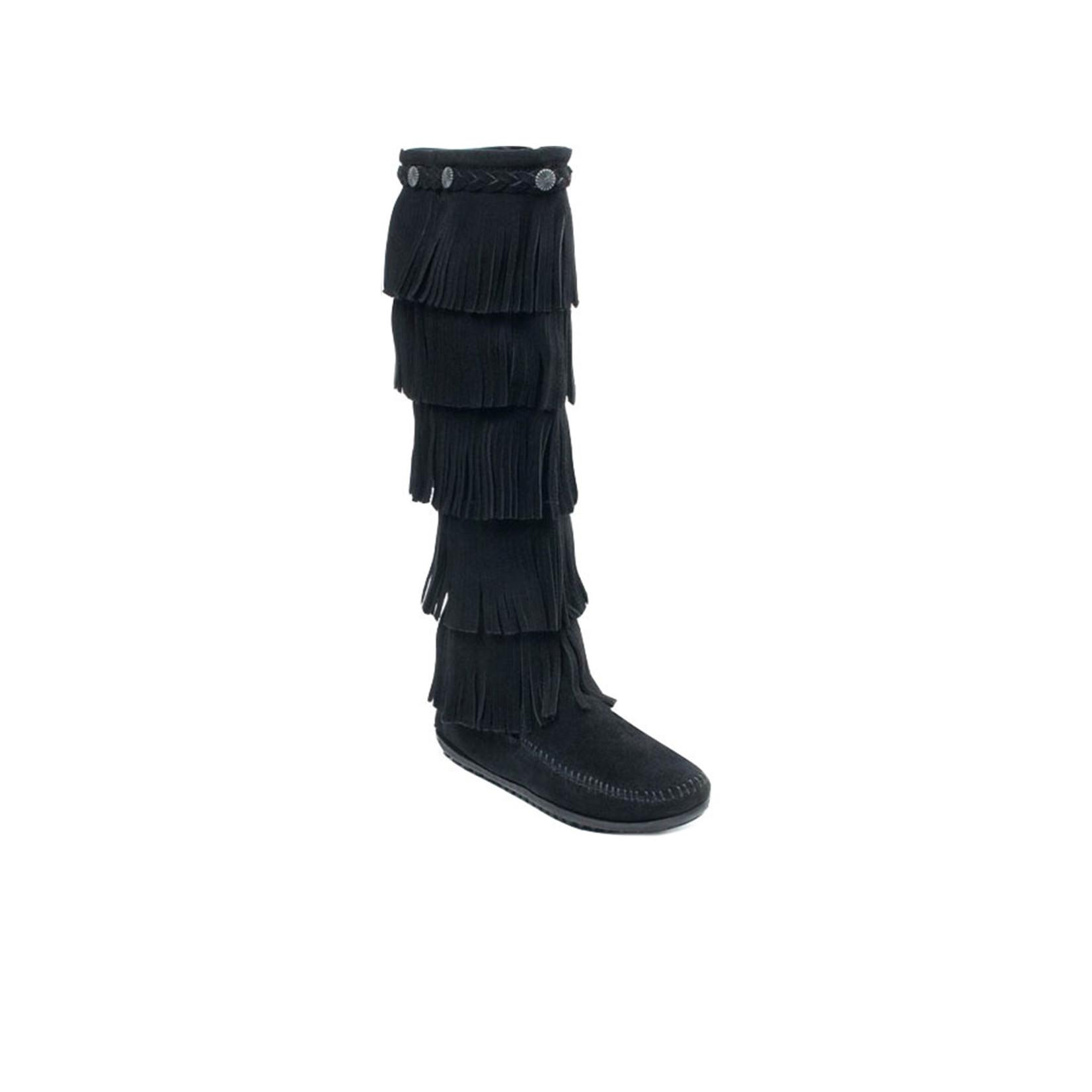 Minnetonka Women's Minnetonka 5 Layer Fringe Boot Black 1659