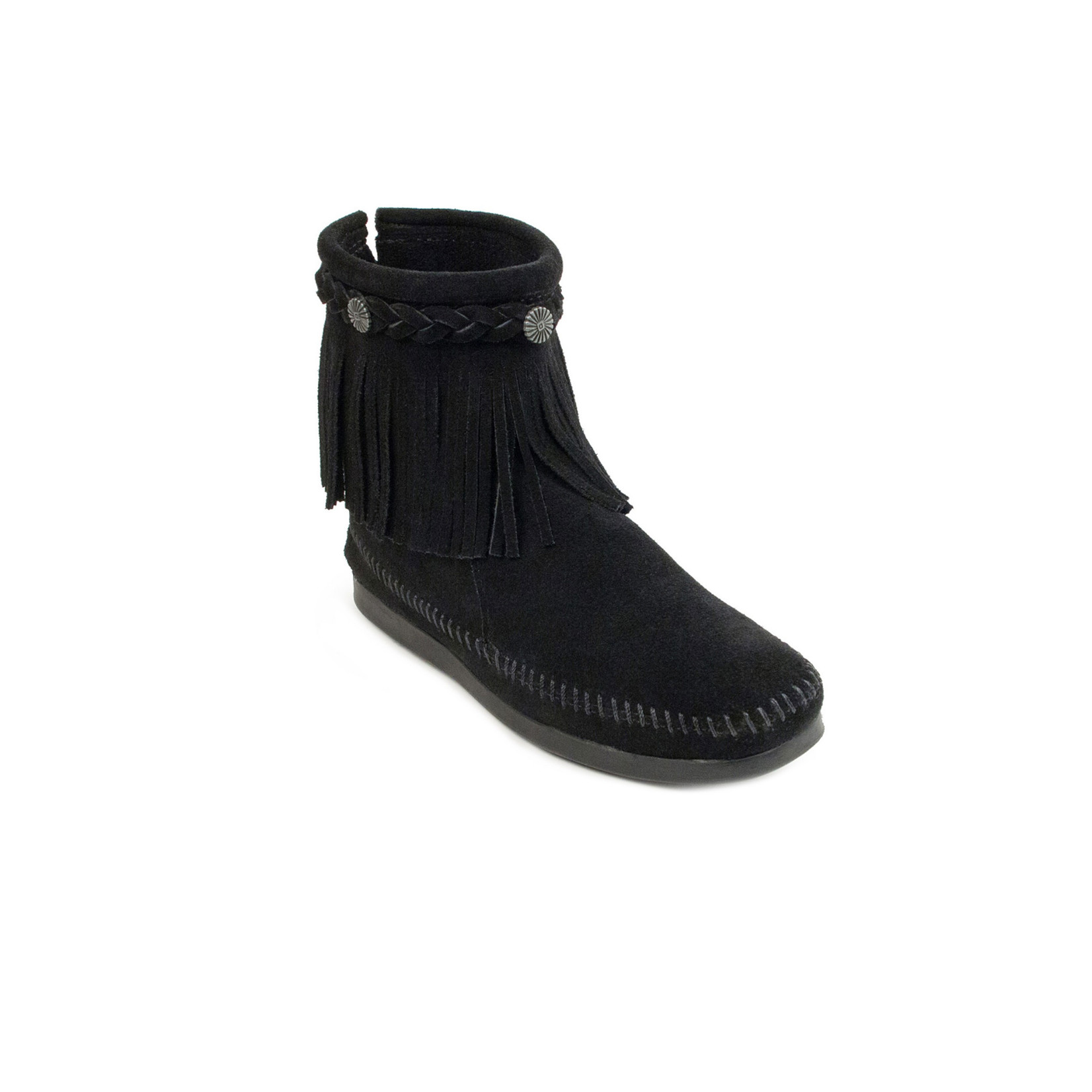 Minnetonka Women's Minnetonka High Top Back zip Boot Black 299