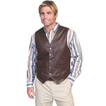 Men's Scully Brown Leather Vest 507 - 143