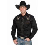 Men's Western Express Eagle Design Black Retro Shirt 712